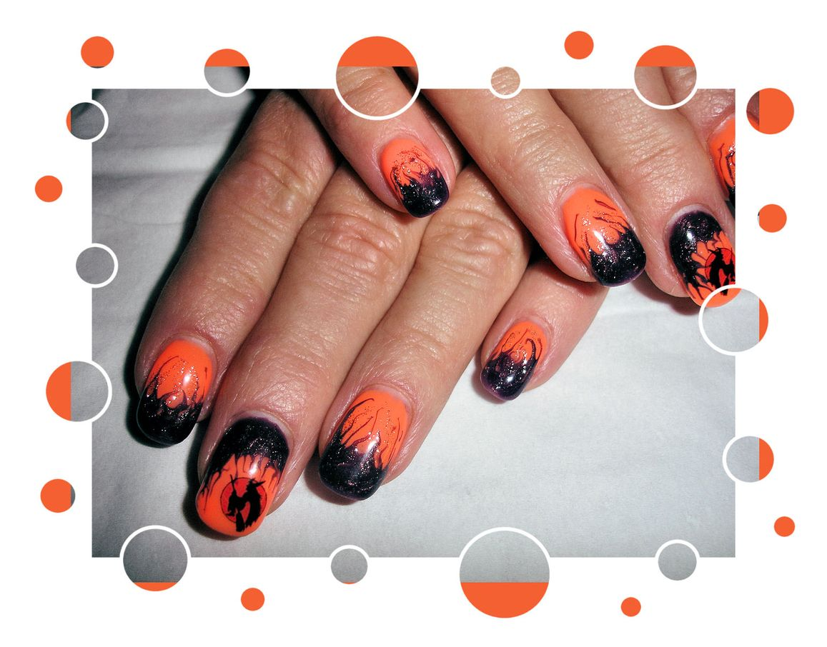 Halloween Nailart Orange Lila (1)